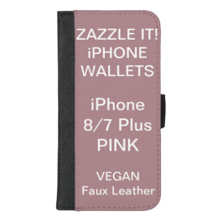 De douane personaliseerde ROZE iPhone 8/7 plus iPhone 8/7 Plus Portemonnee Hoesje
