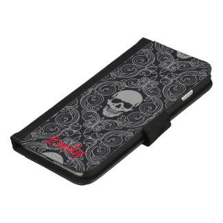 De Douane van de Schedel van de gothic iPhone 8/7 Plus Portemonnee Hoesje