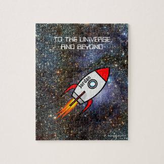 De douanenaam van de astronomie en tekstraket legpuzzel