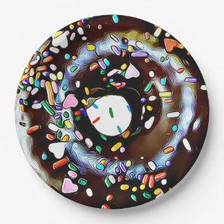 De Doughnut van de chocolade met bestrooit het Papieren Bordje