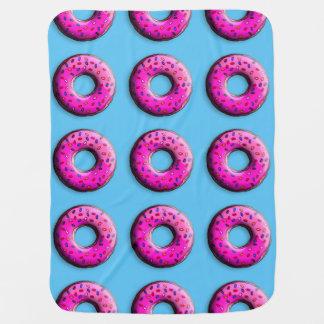 De Doughnut van de pink met kleurrijk bestrooit + Kinderwagen Dekentjes