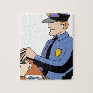 De doughnut van de politieman foto puzzels
