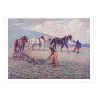 De draai-Rijst Ploeg, c.1909 (olie op canvas) Briefkaart