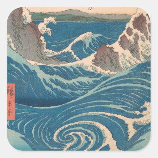 De Draaikolk van Hiroshige Naruto van Utagawa Vierkante Sticker