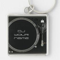 De draaischijf van DJ keychain Zilverkleurige Vierkante Sleutelhanger