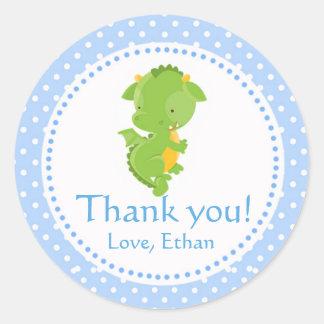 De draak dankt u etiketteert Groenachtig blauwe Ronde Sticker