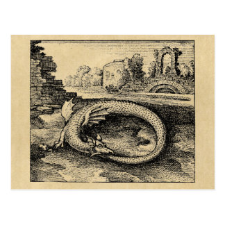 De draak die van Ouroboros het is staartsepia Briefkaart