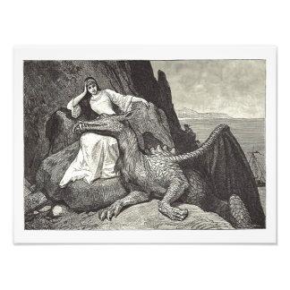 De Draak van het huisdier en het Meisje Foto Prints