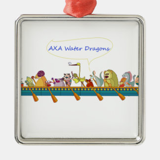 De Draak van het water Zilverkleurig Vierkant Ornament