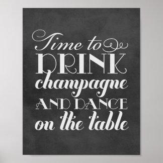 De drank Champagne en danst het Teken van het Poster