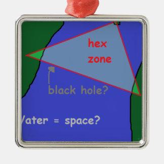 De driehoek van de Bermudas: de theorie Zilverkleurig Vierkant Ornament