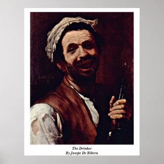 De drinker door Jusepe DE Ribera Poster