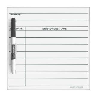 De Droge Kaart van de Zak van de bibliotheek - wis Whiteboards
