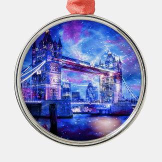 De Dromen van Londen van de minnaar Zilverkleurig Rond Ornament