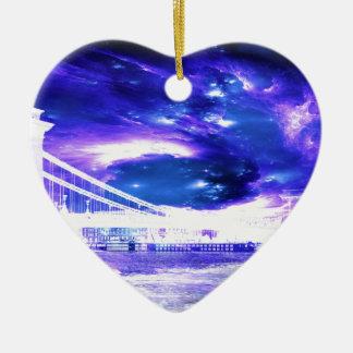 De Dromen van violetkleurig Boedapest van de Keramisch Hart Ornament
