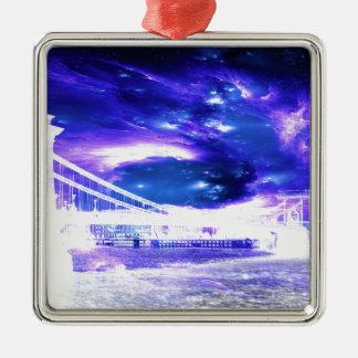 De Dromen van violetkleurig Boedapest van de Zilverkleurig Vierkant Ornament