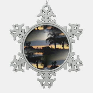 De dromerige Zonsondergang van Florida Tin Sneeuwvlok Ornament