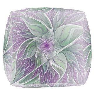 De Droom van de bloem, vat Paars Groen Fractal Poef