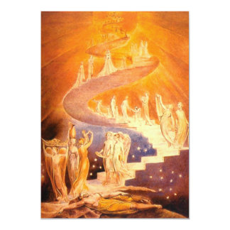 De Droom van Jacob door William Blake 12,7x17,8 Uitnodiging Kaart