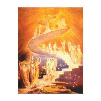 De Droom van Jacob door William Blake Canvas Bedrukken