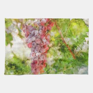 De Druiven van de rode Wijn op de Wijnstok Theedoek
