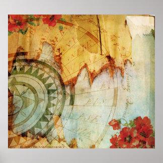 De Druk van de antiquair met Kompas en Papavers Poster