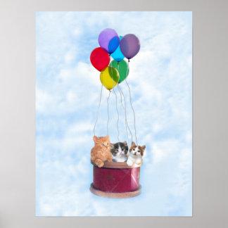 De Druk van de Ballon van de Hete Lucht van katjes Poster