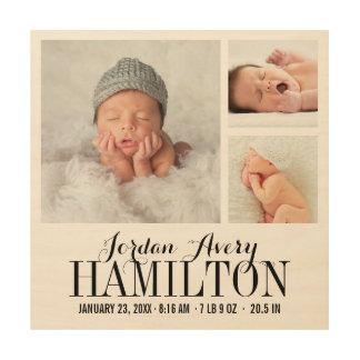 De Druk van de Collage van de Foto van het Baby Hout Afdruk