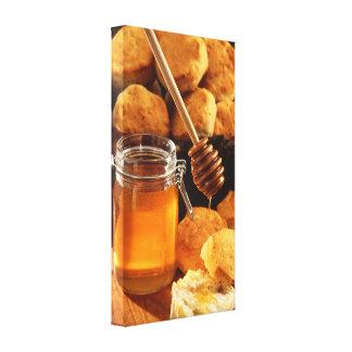 De Druk van de honing & van het Canvas van Koekjes