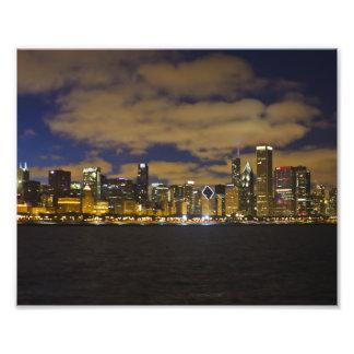 De Druk van de Horizon van de Nacht van Chicago Foto Afdruk