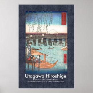 De Druk van de Houtsnede van Hiroshige Ryogoku van Poster