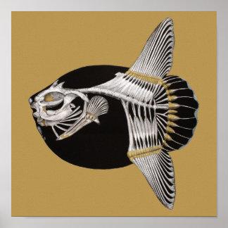 De Druk van de Kunst van het Skelet van de Vissen Poster