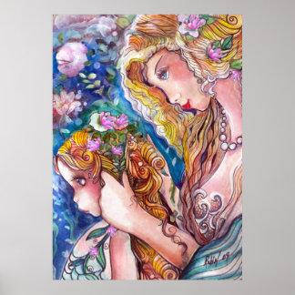 De Druk van de Meerminnen van de moeder & van de D Poster