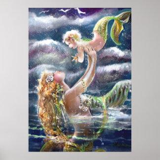De Druk van de Meerminnen van de moeder & van het  Poster