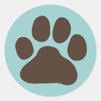 De Druk van de Poot van de hond Ronde Sticker
