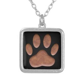 De Druk van de Poot van de Hond van de Textuur van Zilver Vergulden Ketting