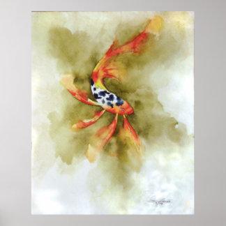 De Druk van de Vissen van Koi van de vlinder Poster