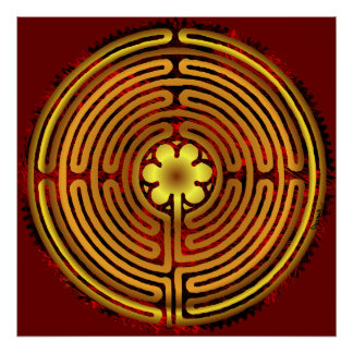 De Druk van de Vlam van de Brand van het Labyrint  Poster