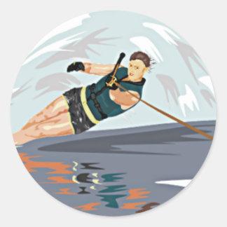 De Druk van de waterski Ronde Sticker
