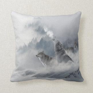 De Druk van de Wolf van de sneeuw Sierkussen