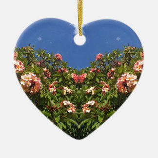 De Druk van Frangipani van de bloem Keramisch Hart Ornament