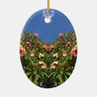De Druk van Frangipani van de bloem Keramisch Ovaal Ornament