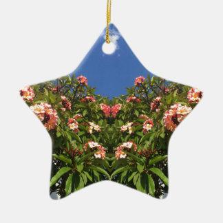 De Druk van Frangipani van de bloem Keramisch Ster Ornament