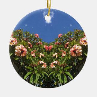 De Druk van Frangipani van de bloem Rond Keramisch Ornament