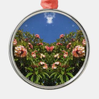 De Druk van Frangipani van de bloem Zilverkleurig Rond Ornament