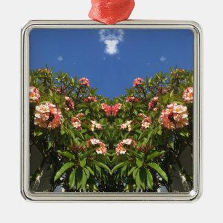 De Druk van Frangipani van de bloem Zilverkleurig Vierkant Ornament