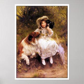 De Druk van het Poster van de Hond, van het Meisje