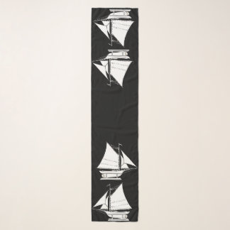 de druk van het zeilbootsilhouet sjaal