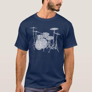 De Drumset Gevormde Witte Tekst van de Kunst van T Shirt