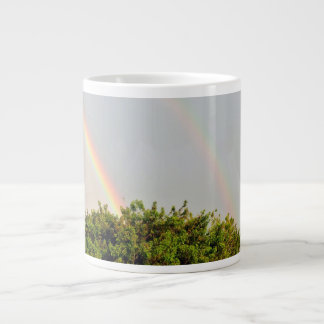 De dubbele Foto van de Regenboog met hemel en bome Grote Koffiekop